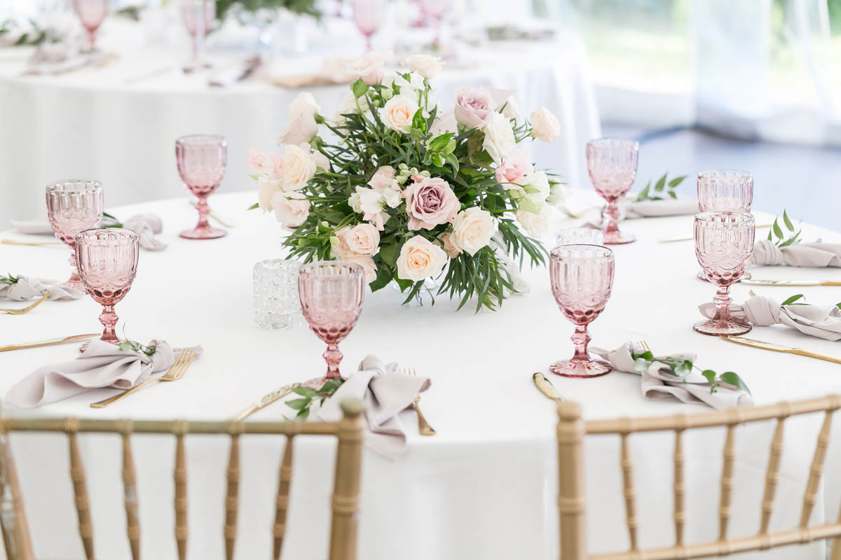 Coloured Glassware - Chair Covers Candelabra
