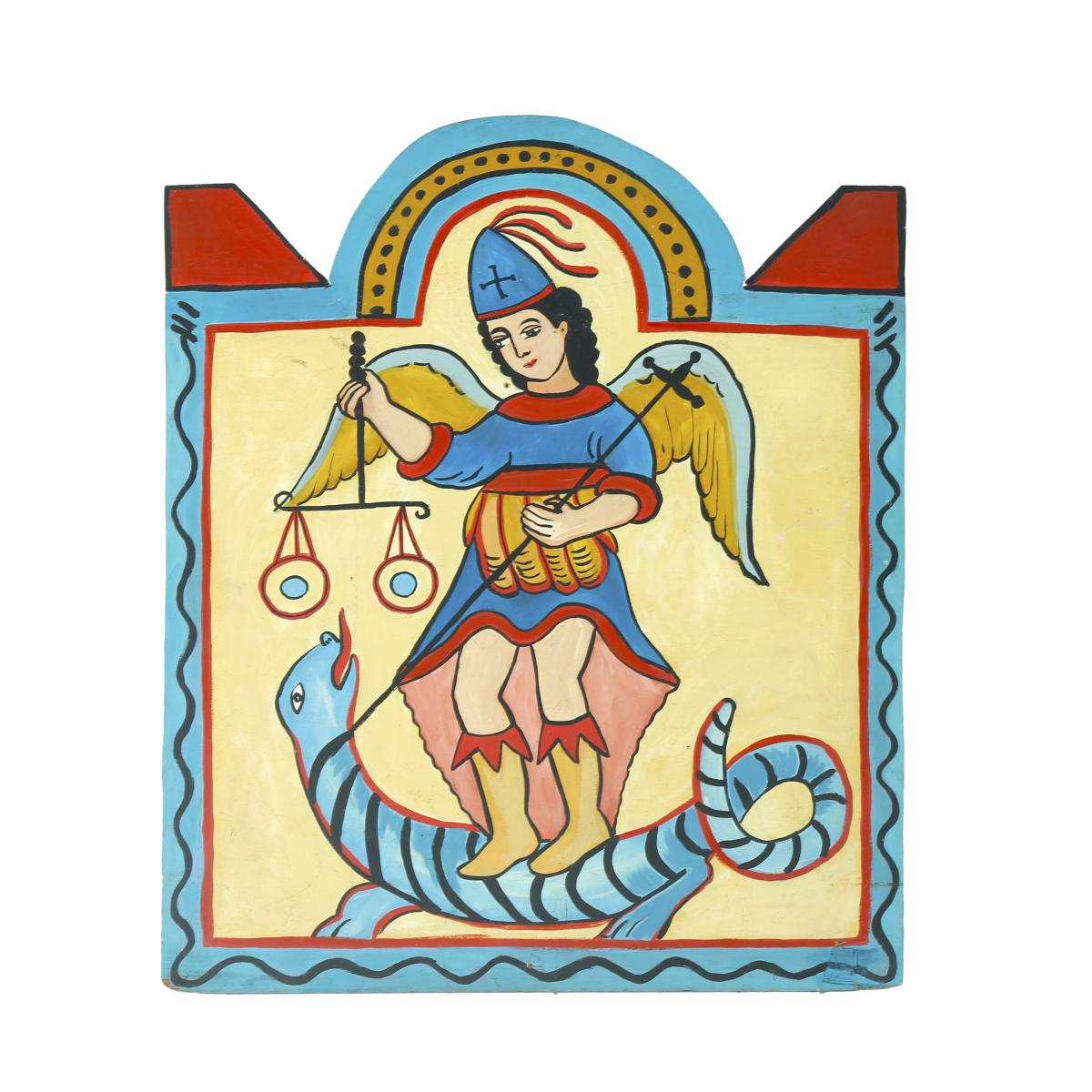 Cutout – Mexican Religious – Figure on Serpent